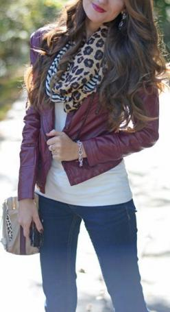 Wine Leather Moto Jacket: Leather Biker, Fall Style, Burgundy Coat Outfit, Fall Going Out Outfit, Leather Jackets, Faux Leather