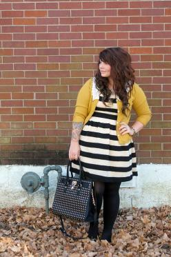 Yellow cardigan is a great pop of color with this striped dress.-TMC~~Plus size Stripe Dress.  I need a new one.: Plussize, Curvy Girl, Plus Size, Color, Outfit Posts, Size Fashion, Hair, New Outfits