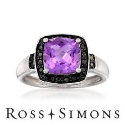 #Amethyst and black diamond ring