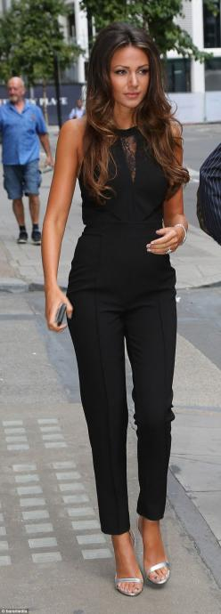 Michelle Keegan.. Michelle Keegan for Lipsy black jumpsuit with lace panels, and Zara silver strappy sandals..: Classy Outfit, Classy Sexy Outfit, All Black, Night Outfit, Summer Work Outfit, Sexy Work Outfit, Black Outfit, Black Jumpsuit, Hair Color