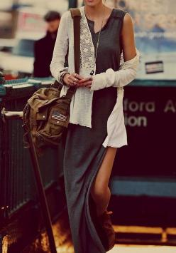 black and white: Basic maxi dress, knit cardigan. via Refined Style