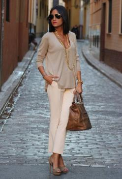 Love how there are all nude colors, but put together with low heels look great.: Fashion With Low Boot, Outfit With Bootie Heel, Style, Faux Fur Vest Outfits, Faux Fur Vests, Fall Outfits, Brown Fur Vest Outfit, Fall Winter, Furry Vest Outfit