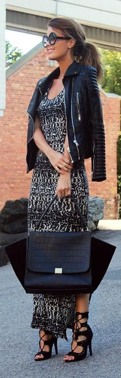 Maxi Dress + tie-up booties + biker jacket ... This would be a perfect for date night