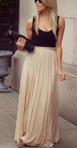 Nude Pleated Ankle Straight Polyester Skirt