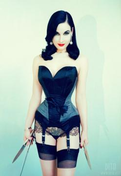 #RT http://www.ebay.co.uk/itm/Waist-Trainers-Lycra-NutrimWaist-Hook-and-Eye-Machine-Washable-Purple-Latex-/111606122012? Dita Von Teese, Beautiful but deadly. Original: Pin-Up Post: Daily Modern Pin-Up Rockabilly Girls