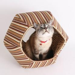 The CAT BALL cat bed made in a fabric of brown stripes. Other colors of this cat cave bed are available.