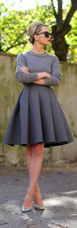 50 Shades of Grey has never looked so good than with this cute retro outfit. We love it!: Gray Dress, Style, Winter Dress Outfit, Winter Skirt, Pleated Skirt Outfit, Full Skirt Outfit, Full Skirt Dress