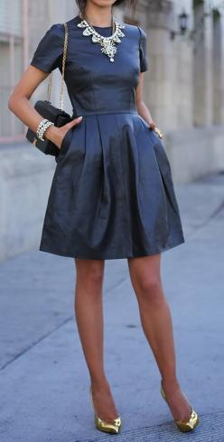 A leather dress even I could handle. Love.: Fashion, Statement Necklaces, Style, Outfit, Leather Dresses, Black Dress, Black Leather Dress