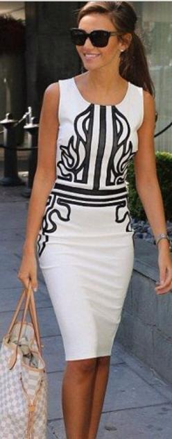 A simple white sheath with an interesting graphic detail is fabulously chic.: Fashion, Chic Work Outfit, Style, Black And White, White Dress, Pencil Dresses, Chic Dress