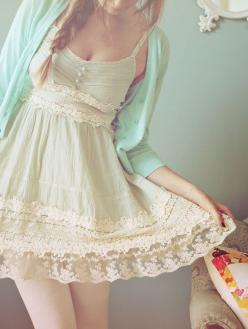 adorable outfit - mint cardigan over a vintage style dress. | one of my favorite vintage dresses <3: Summer Dress, Style, Vintage Lace Dress, Clothes, Outfit, Mint Cardigan, Vintage Dress, Lace Dresses