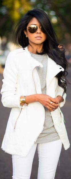 Adorable white Pant, gray shirt with white blazer with lovely shades | DollfaceSF #dollfacesf #arganoil #longhairdontcare: All White, Fashion, White Blazer, Street Style, Outfit, Hair