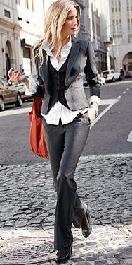 Business dressy - I would totally wear this if I lived somewhere colder and worked somewhere that expected me to wear business clothes.  Love the jacket, vest and shirt peeking out from them.  The pants are awesomeness too.: Dressy Vests Womens Outfits, O