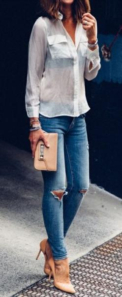 classic button down + skinny jeans + valentino clutch: Women S Fashion, White Denim, Sexy Skinny Jeans And Heels, Spring Summer, Outfit, Street Styles, Nude Heels