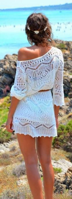Crochet detail sleeve dress fashion...one of my fav's for the summer!  HotWomensClothes.com: Cover Up, Summer Dresses, Summer Fashion, Crochet Dresses, Summer Outfit, Style, Beach Cover