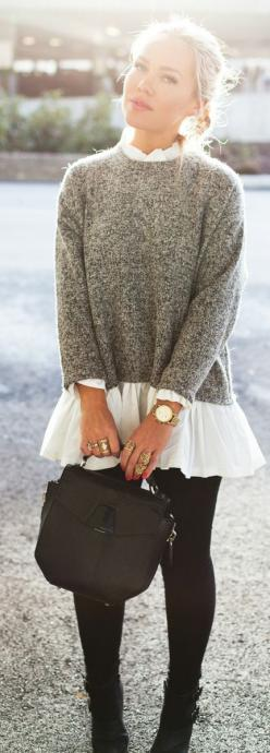 Grey knit pullover with a flowy white shirt --always a good idea.: Prude Girl, Casual Chic Winter Outfit, Street Style, Black White Grey Outfit, Fall Outfit, Fall Winter