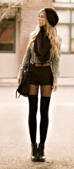 I'm not sure I could pull this off, but SO CUTE.: Thigh High Socks, Knee Socks Outfit, Street Style, High Waisted Shorts, Long Socks, Thigh Highs, Fall Outfits, Fall Winter, High Socks Outfits