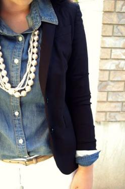 I adore this ensemble.  Jeans shirt, blazer, faux and genuine pearls with white pants.  True style and confidence!: Pearl, Navy Blazers, Style, Chambray Shirts, Denim Shirts, Outfit