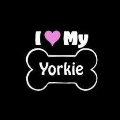 I Love My Yorkie: Dogs, Dog Bones, Yorkie Bone, Car Window Decals, Bone Car
