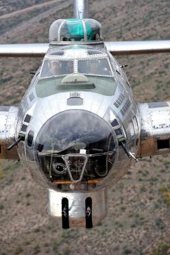 I once got to fly in, and briefly fly, a B-17G Flying Fortress and I loved this photo of a B-17G from head-on. My dad was a draftsmen working for Boeing in WWII on the B-17F and G and then on the top secret B-29 Superfortress.: B 17, B17, Airplane, Flying