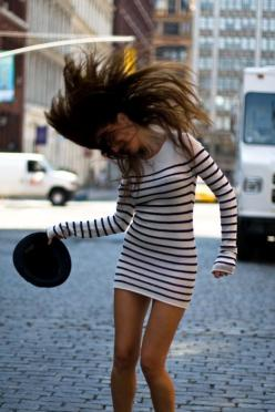 love easy going dresses like this that you can dress up and down: Fashion, Style, Sweater Dresses, Outfit, Long Sleeve, Stripes, Hair