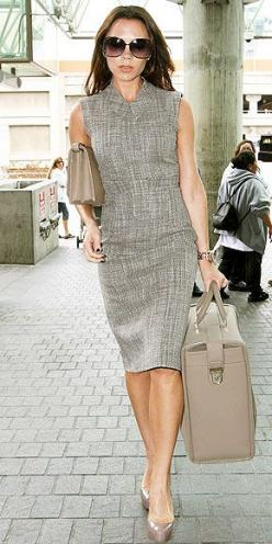 Love the high neckline on this dress. So different!: Victoria Beckham Bag, Fashion Icons, Beckham Style, Dress, Outfit, Beckham Photo, Vb Style, Classic Chic