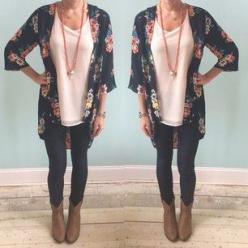 make use of your summer kimonos by wearing them with ankle boots and leggings or skinny jeans: Summer Kimono, Leggings Outfit, Casual Outfit, Ankle Boots Outfit, Ankle Boot Outfit, Fall Outfit, Spring Outfit, Christmas Gift