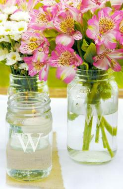 Mason jars are perfect for a bbq or garden party. Use them as cups or vases.: Centerpiece, Personalizedmasonjars, Personalized Mason Jars, Masons, Mason Jar Vases, Wedding Ideas, Weddings, Vase Collection