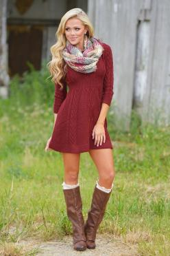 Meeting The Parents Sweater Dress - Burgundy from Closet Candy Boutique: Sweater Dresses, Sweater Dress Outfit, Winter Dress Outfit, Winter Sweater Dress, Parents Sweater, Thanksgiving Outfit, Fall Outfits Dress, Boots Outfit