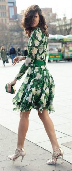 My favorite color... street style green floral print dress: Floral Print Dress, Street Style, Green Dress, Green Outfit, Spring Floral