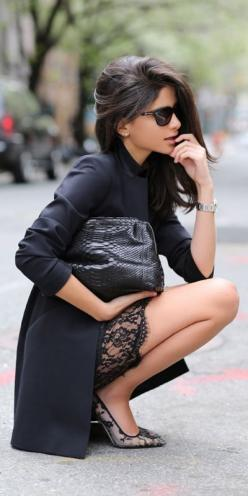 office clothes for ladies 5 best outfits - work-outfits.com: Black Coats, Fashion, Lace Heels, All Black, Outfit, Street Styles, Black Laces, Manolo Blahnik, Lace Dresses