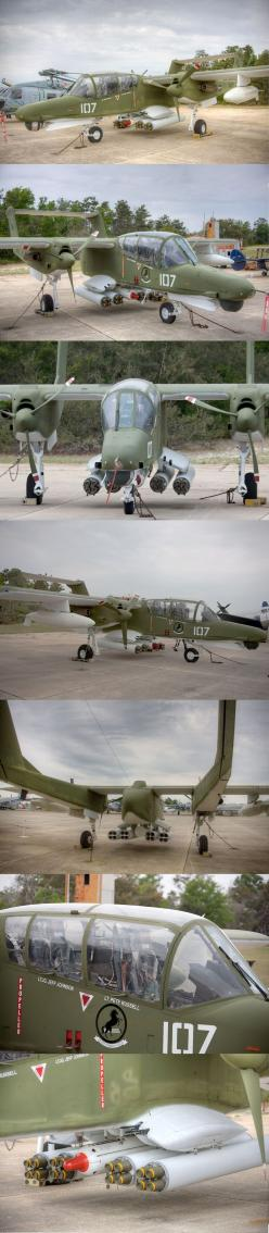 OV-10D:  The North American Rockwell OV-10 Bronco is a turboprop light attack and observation aircraft. It was developed in the 1960s as a special aircraft for counter-insurgency (COIN) combat, and one of its primary missions was as a forward air control