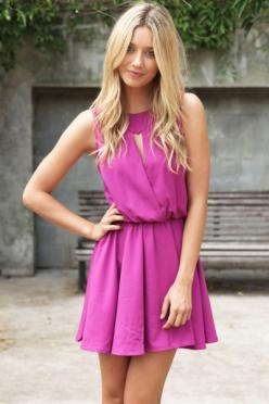 pretty dress: Summer Dresses, Purple Outfit, Fashion, Magenta Dress, Pink Summer Dress