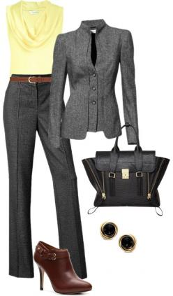 "Recreate with @CAbi Clothing My Favorite Trouser, Jet Set Jacket and Ochre Cami...""Gray pant suit"" by debbiedonothing on Polyvore: Office Clothe, Yellow And Gray Outfit, Pantsuit, Work Outfit, Pant Suit Outfit, Gray Pant, Polyvore Suit"