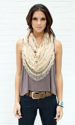 Scarf as an embellishment for a plain sleeveless top: Summer Scarves, Fashion, Cute Scarf, Style, Clothes, Dream Closet, Outfit, Belt, Scarfs