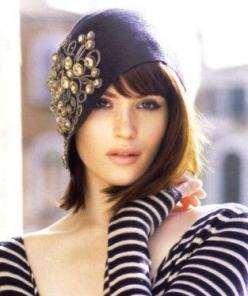 She's just beautiful... but I do love wide necklines and looong sleeves. Oh ya, and cloche hats.: Gemmaarterton, Gemma Arterton, Hairstyle, Hair Style, Cloche Hats, Hats Hats, Beauty, Bob Bangs
