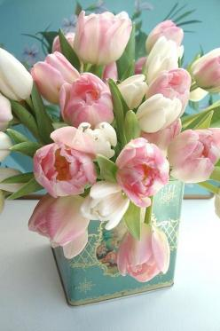 Spring tulips in vintage tin centerpiece...: Flower Arrangements, Floral Arrangements, Flowers, Garden, Spring, Pink Tulips, Favorite Flower