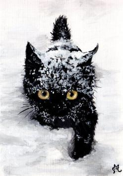 "The sweet black cat in the world loves snow. * * "" EASY FUR YOO TO SAY ! "": Black Cats, Snow Cat, Snow Kitty, Kitty Kitty, Chat, Let It Snow, Blackcat, Animal"
