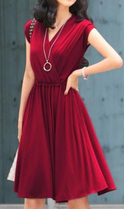 This dress is so gorgeous, probably too fancy a color for the office but I still love it.: Fashion, Style, Clothes, Color, Outfit, Dresses, Cap Sleeve, Wrap Dress