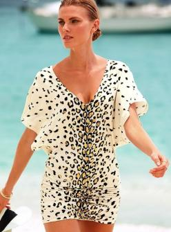 this is a dressy cover up.. I would need jewelry with full hair and make up done to wear this to the beach haha: Cover Up, Beach Wear, Bathing Suits, Leopard Print, Style, Coverup, Beach Cover