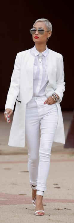 TOTALLY luv her style!! I think this is what I was daydreaming of looking like by now back when I was seventeen. I still want to do the white hair...: All White Outfit, Red And White Outfit, White Fashion, Street Style, White Parties, Spring Outfit, All W