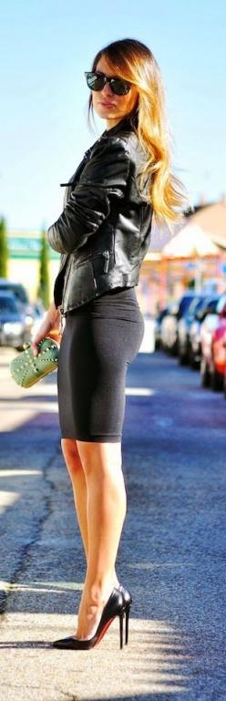 Totally My Style! Those Red Bottoms Are Bomb!: Fashion, Street Style, Dress, Outfit, Leather Jackets, High Heels, Women, Black