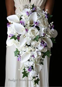 Traditional design Lavender Wedding flower bouquet. Stunning. Lavender is starting to become the color to have for Spring brides. Such a lovely color. See more ideas from our team at Vintageemporiumrentals.com for tips. At Vintage Emporium we set up visua