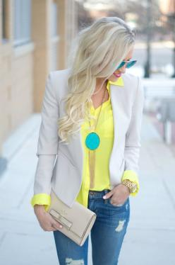 turquoise and yellow! -- not sure if yellow would look good on me, but like this combo: Gold Outfit, Neon Outfit, Nude Outfit, Yellow Shirt Outfit, Khaki Blazer Outfit, Jeans Outfit, Blazer And Jean, Casual Blazer Outfit