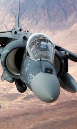 US Marines Harrier in Afgan. The one engine powering the plane sitting centrally behind the pilot.: Military Aircraft, Military Planes, Airplane, Aircraft, Fighter Jets