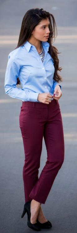 Wear burgundy trousers with a crisp button-up to work. Dress up the outfit with a statement necklace and pumps—try leopard for splash of print.: Fall Work Outfit, Statement Necklace, Professional Work Outfit, Burgundy Dress Outfit, Burgundy Pants Outfit,