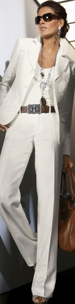 White on WhiteFabulous. Nude undergarments are a must when you wear white slacks. A nude bra not white is best under white tops.: All White, Fashion, White Outfits, White Suits, Pantsuit, Office Style