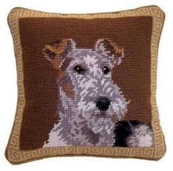"""Wire Fox Terrier Dog Portrait - 10"""" Needlepoint Dog Pillow: Dog Days, Pin Cushions, Haired Fox, Dog Portraits, Needlepoint Dog, Wire Fox Terriers"""