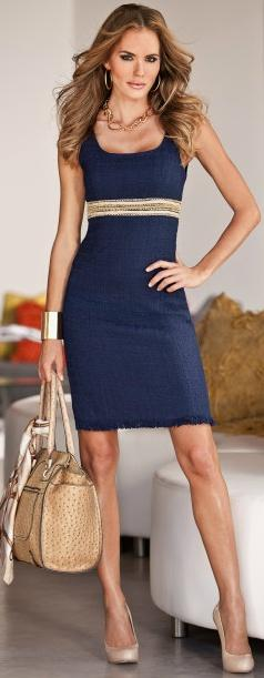Work dress. Needs a little length and something to layer over it in case it gets a little cold without taking away from the look.: Boston Proper, Summer Dress, Summer Work Dress, Blue Dresses, Style, Sheath Dress, Navy Dress, Navy Blue