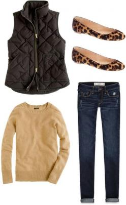 Fall outfit, camel tan sweater top, black quilted vest, leopard flats, dark denim: Leopard Print, Casual Outfit, Black Vest, Leopard Flats, Winter Outfit, Fall Fashion, Fall Outfit, Fall Winter
