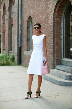 Why dresses rule: they're efficient (one piece of clothing vs. two or three), and all you have to do is find a pair of shoes and a bag - done, the look is complete. I am trying to become braver about wearing white, esp in the summer - doesn't it l